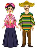 Animation portrait of the Mexican family in ancient festive clothes. Full growth. Vector illustration isolated on a white background Royalty Free Stock Image