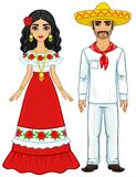 Animation portrait of the Mexican family in ancient festive clothes. Full growth. Vector illustration isolated on a white background Stock Photo