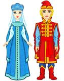 Animation Portrait Of A Family In Ancient Russian Clothes. Stock Photo