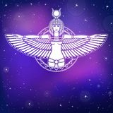 Animation Portrait Of The Ancient Egyptian Winged Goddess. Royalty Free Stock Photo