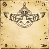 Animation Portrait Of The Ancient Egyptian Winged Goddess. Space Symbols. Royalty Free Stock Photos