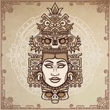 Animation portrait of the pagan goddess  based on motives of art Native American Indian.  Color decorative drawing. Royalty Free Stock Image