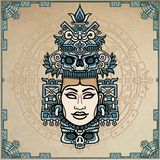 Animation portrait of the pagan goddess  based on motives of art Native American Indian. Color decorative drawing. Vector illustration. Background - imitation Royalty Free Stock Photo