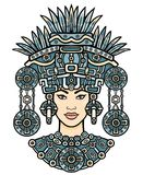 Animation portrait of the pagan goddess  based on motives of art Native American Indian.   Color decorative drawing. Stock Images