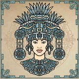 Animation portrait of the pagan goddess  based on motives of art Native American Indian.   Color decorative drawing. Animation portrait of the pagan goddess Stock Photo