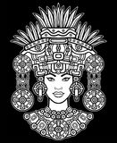 Animation portrait of the pagan goddess  based on motives of art Native American Indian.   Monochrome decorative drawing. Isolated on a black background. Vector Stock Image