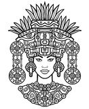 Animation portrait of the pagan goddess  based on motives of art Native American Indian.   Monochrome decorative drawing. Vector illustration isolated on a Royalty Free Stock Images