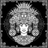 Animation portrait of the pagan goddess  based on motives of art Native American Indian. Monochrome decorative drawing. Vector illustration. Background - a Stock Photography