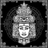 Animation portrait of the pagan goddess  based on motives of art Native American Indian. Monochrome decorative drawing. Vector illustration. Background - a Royalty Free Stock Photos