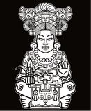 Animation portrait of the pagan goddess based on motives of art Native American Indian. Monochrome drawing isolated on a black background. Vector illustration Royalty Free Stock Photography