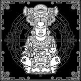 Animation portrait of the pagan goddess based on motives of art Native American Indian. White drawing, black background with a pat Royalty Free Stock Images