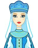 Animation portrait of the Russian princess in ancient clothes. Stock Images