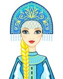 Animation portrait of the Russian princess in ancient clothes. Snow Maiden, Vasilisa, character of the fairy tale. Stock Photo