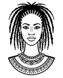 Animation portrait of the young African woman. Royalty Free Stock Photo