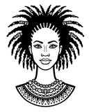 Animation portrait of the young African woman. Stock Image