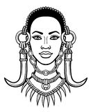 Animation portrait of the young African woman. Stock Photography
