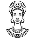 Animation portrait of the young African woman in a turban. Monochrome linear drawing. Vector illustration isolated on a white background. Print, poster, t vector illustration