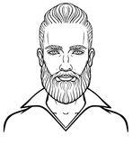 Animation portrait of the young attractive bearded man with a stylish hairstyle. Linear drawing.Vector illustration isolated on a white background. Print Royalty Free Stock Photo