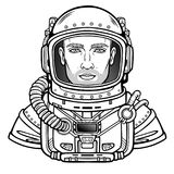 Animation portrait of the young attractive man of the astronaut in a space suit. Vector illustration isolated on a white background.  Be use for coloring booke Stock Photo