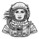 Animation portrait of the young attractive woman of the astronaut in a  open space suit. Vector illustration isolated on a white background. Print, poster, t Royalty Free Stock Photos