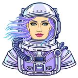 Animation portrait of the young attractive woman of the astronaut in a  open space suit. Vector illustration isolated on a white background. Print, poster, t Stock Image