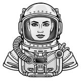 Animation portrait of the young attractive woman of the astronaut in a space suit. Vector illustration isolated on a white background. Print, poster, t-shirt Royalty Free Stock Photos