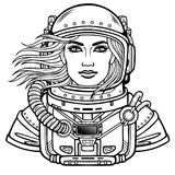Animation portrait of the young attractive woman astronaut in a space suit. Helmet is open, hair flutter. Vector illustration isolated.  Be use for coloring Stock Image