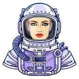 Animation portrait of the young attractive woman of the astronaut in a space suit. Vector illustration isolated on a white background. Print, poster, t-shirt Stock Photos