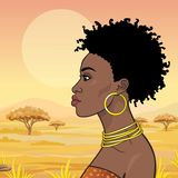 Animation portrait of the young beautiful African woman in ancient clothes and jewelry. royalty free illustration