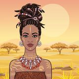 Animation portrait of the young beautiful African woman in a dreadlocks. Savanna princess, Amazon, hunter. Background - a landscape the desert. The place for royalty free illustration