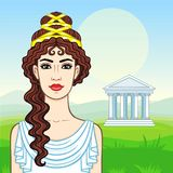 Animation portrait of the young beautiful Greek woman in ancient clothes. Royalty Free Stock Images