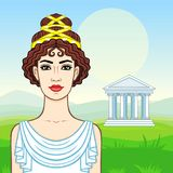 Animation portrait of the young beautiful Greek woman in ancient clothes. Background - a summer landscape, the green valley, the temple with columns. Vector Royalty Free Stock Photos