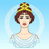 Animation portrait of the young beautiful Greek woman in ancient clothes. Decorative circle. Stock Photography