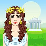 Animation portrait of the young beautiful Greek woman in ancient clothes in a laurel wreath. Background - a summer landscape, the green valley, the temple with Royalty Free Stock Photography