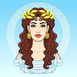 Animation portrait of the young beautiful Greek woman in ancient clothes in a laurel wreath. Decorative circle. The vector illustration  on a blue background Royalty Free Stock Image