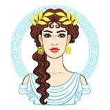 Animation portrait of the young beautiful Greek woman in ancient clothes in a laurel wreath. Decorative circle. The vector illustration isolated on a white Stock Images