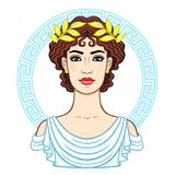 Animation portrait of the young beautiful Greek woman in ancient clothes in a laurel wreath. Decorative circle. The vector illustration isolated on a white Royalty Free Stock Photos