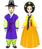 Animation portrait of young beautiful Korean family in ancient traditional clothes. Full growth. Royalty Free Stock Photos