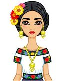 Animation portrait of the young beautiful Mexican girl in ancient clothes. Royalty Free Stock Photography