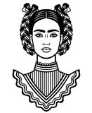 Animation portrait of the young beautiful mexican woman with a traditional hairstyle. Stock Photos