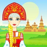 Animation portrait of the young beautiful Russian girl in ancient national clothes. Fairy tale character. Royalty Free Stock Image