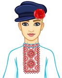 Animation portrait of the young Belarusian boy in traditional clothes. Eastern Europe. Vector illustration isolated on a white background Royalty Free Stock Photo