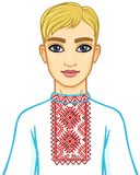 Animation portrait of the young Belarusian boy in traditional clothes. Eastern Europe. Vector illustration isolated on a white background Royalty Free Stock Photography