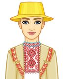 Animation portrait of the young Belarusian boy in traditional clothes. Eastern Europe. Vector illustration isolated on a white background Stock Images