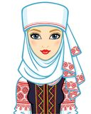 Animation portrait of the young Belarusian girl in traditional clothes. Eastern Europe. Vector illustration isolated on a white background Royalty Free Stock Photography