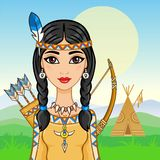 Animation portrait of the young girl in ancient Indian clothes. Royalty Free Stock Photos