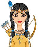 Animation portrait of the young girl in ancient Indian clothes. Stock Images