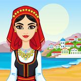 Animation portrait of the young girl in the Greek suit. Royalty Free Stock Photo