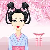 Animation portrait of the young Japanese girl with an ancient hairstyle. Geisha, Maiko, Princess. Stock Photos
