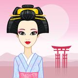 Animation portrait of the young Japanese girl an ancient hairstyle. Geisha, Maiko, Princess. Royalty Free Stock Photo
